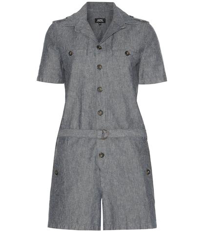 apc female jane cotton and linen playsuit