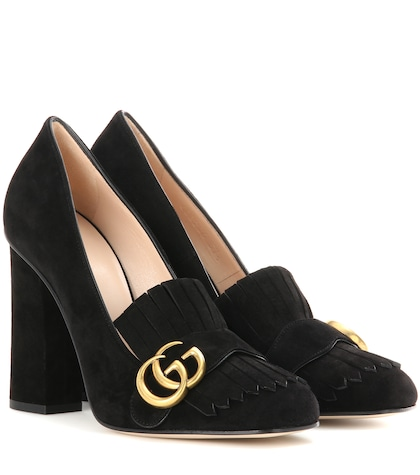 Suede loafer pumps