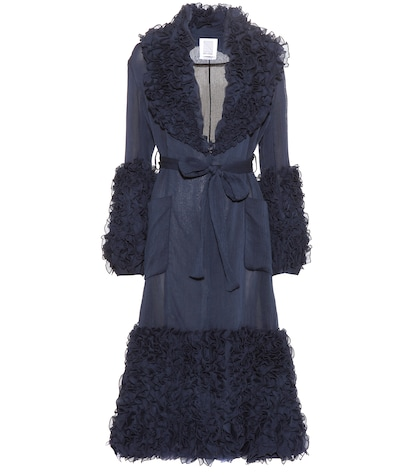 rosie assoulin female morel ruffled cotton and silk coat