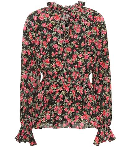 Floral-printed silk blouse