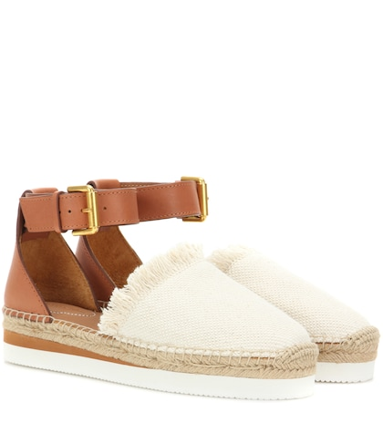 Canvas and leather espadrilles