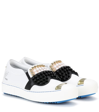 fendi female embellished slipon leather sneakers