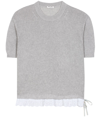 miu miu female knitted cotton top