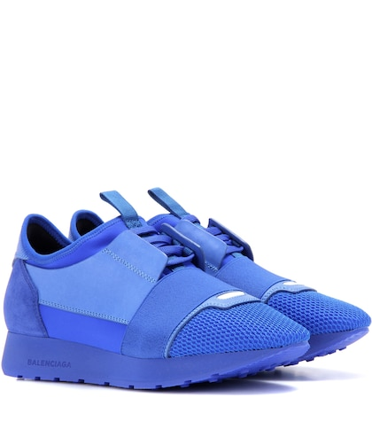 Race Runner Leather And Fabric Sneakers