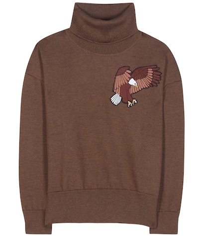 Wool sweater with embroidered appliqué