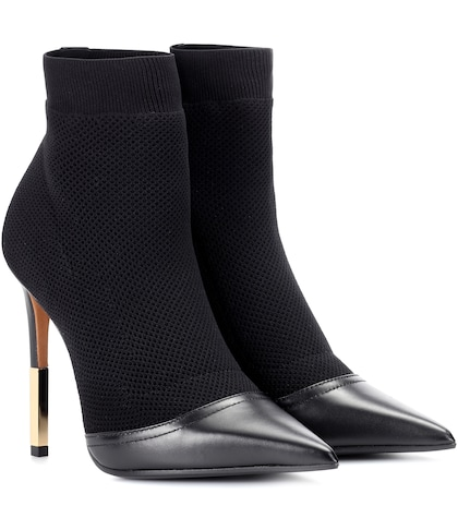 Aurore leather-trimmed ankle boots