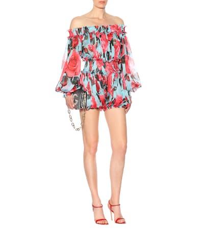Rose Dolce Bedruckter amp; amp; azzurro Seide Playsuit Gabbana Dolce Aus R4wxqP
