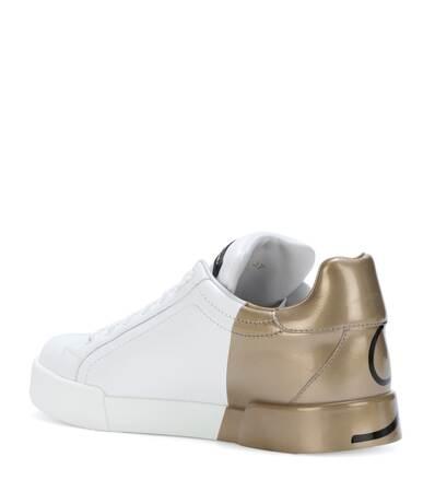 Dg Leder Dolce Gabbana amp; amp; Dolce Bianco oro Sneakers Aus 7UpqZP0x