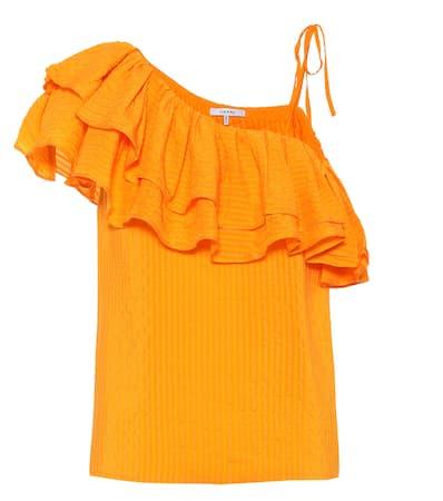 Ganni Ganni Asymmetrisches Einem Aus Seidengemisch Wilkie Top Orange Asymmetrisches Turmeric q56wrxUR5