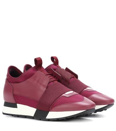 Mit Sneakers Race Race Balenciaga Balenciaga Lederbesatz Runner Rouge Runner Mit Sneakers gqHxBpEpw