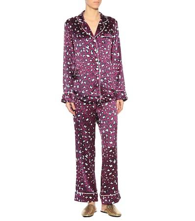 Lila Olivia Pyjama set Bedrucktes Marine ivory purple Von Halle Aus Seidensatin wfwaX