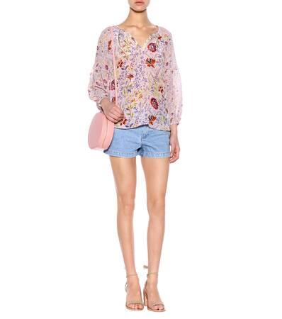 Floral Rosa Velvet Bedruckte Velvet Velvet Floral Bluse Kandee Rosa Bedruckte Bluse Kandee EApqgwq