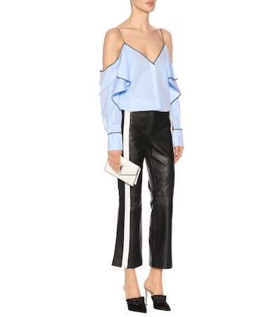 Mugler top Off shoulder Mugler Aus Off Blau Baumwolle Sky ISAqw5