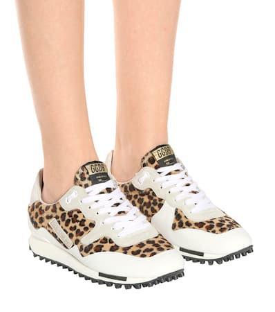 Starland eis Goldene Aus Leopard Leder Gans Deluxe Markenturnschuhe Gans Goldene XzqFwX