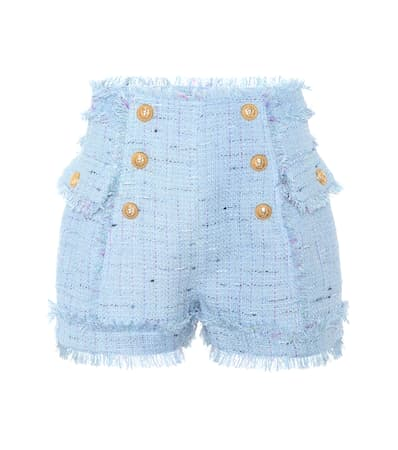 Balmain Tweed-shorts Blau Denim