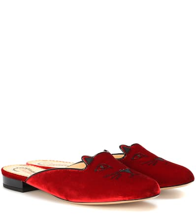 Charlotte Olympia Samt Pantoffeln Kitty Flach Rot / Gold