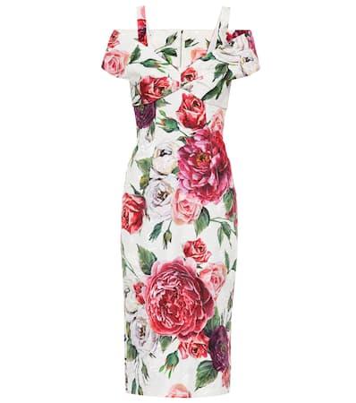 Dolce & Gabbana Etuikleid Aus Jacquard Peonie Panna