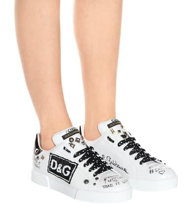 Gabbana Sneakers amp; Wei Dolce Verzierte Verzierte Aus amp; Gabbana Leder Dolce wqX0x4A