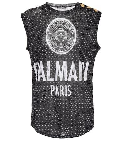Balmain Bedrucktes Top Aus Leinen Noir/blanc Verkauf Eastbay Billige Neueste ONOWpTnn53