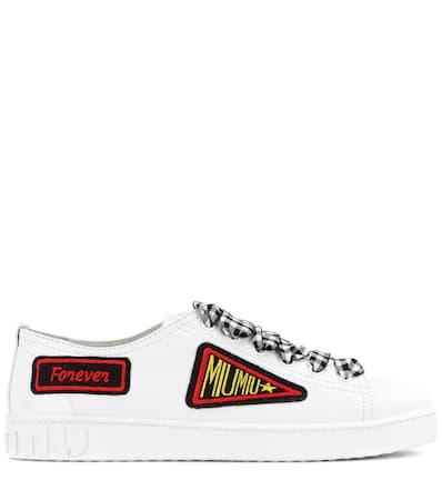 Verzierte Miu Miu Leder Miu Aus Bianco Miu Sneakers qt7xpR