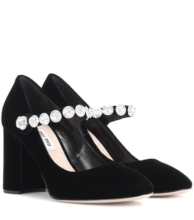 Miu Miu Verzierte Mary-jane Pumps Aus Samt Nero
