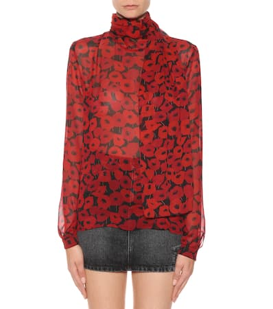 Saint Noir Bedruckte Laurent Seidenbluse Laurent rouge Saint Pn6BzgXP