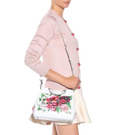 205fa3370d7ab ... Dolce Panna Aus Peonie Medium Sicily amp  Tasche Gabbana Fondo  Bedrucktem Leder ...