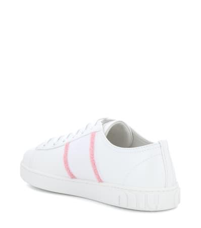 Miu Miu Bianco Sneakers Leder Miu Verzierte Miu Aus azzurro A5rfq5