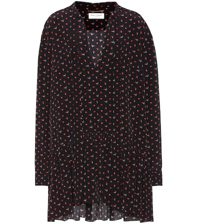 Saint Laurent Bedrucktes Minikleid Noir Rouge