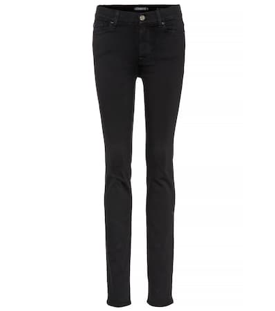 7 For All Mankind Hoch Jeans Rozie Dünne Illusion Luxe Gespült Schwarz