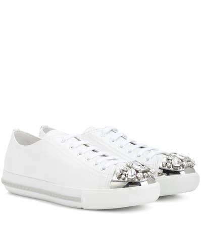 Aus Verzierte Bianco Sneakers Miu Miu Miu Leder Miu qaOw7X