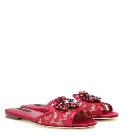 Dunkel Aus Gabbana amp; Bianca Verzierte Dolce Sandalen Red Spitze 0AwqFv