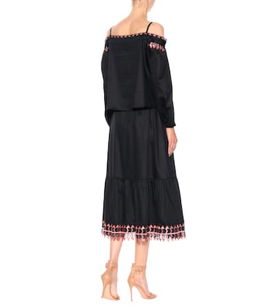 shoulder Off Aus Temperley Baumwolle bluse Temperley London London Schwarz Agnes 0xHqtIAq