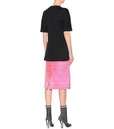 Baumwolle Schwarz Fendi Aus shirt Verziertes Verziertes T Fendi axTwq6SP