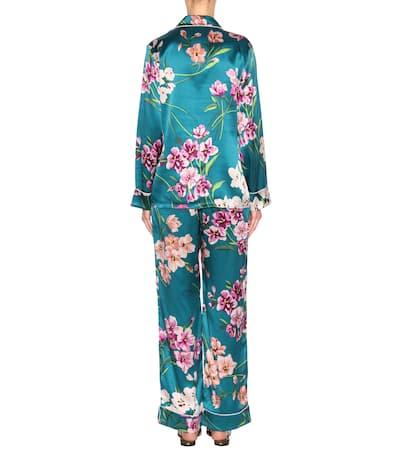 Von Seidensatin Bedrucktes Aus Halle Pyjama Green Ivory Olivia Multi Lila set w6E0qwdF