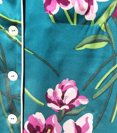 Aus Lila set Halle Olivia Seidensatin Ivory Pyjama Green Von Bedrucktes Multi WXpUWqnBY