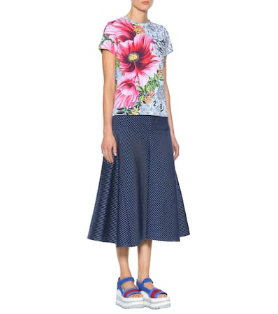 Paint Katrantzou Rosa Mary By shirt Bedrucktes T Baumwolle Numbers Aus qvzxzYdw