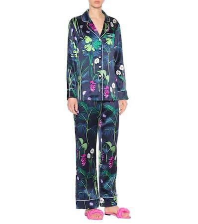 Pyjama Lila Gene Von The Seide Gene Halle Aus set Olivia Lila E1fwq