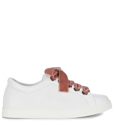 Fendi Bianco Fendi Aus Sneakers Leder Sneakers pwzq7vxOq