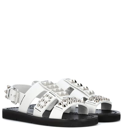 Prada Verzierte Sandalen Aus Leder Bianco
