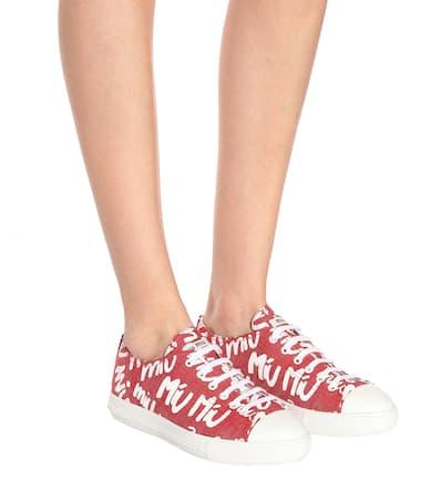 Miu Miu Bedruckte Miu Bedruckte Aus Rosso Denim Miu Sneakers qAxtnwPaZf
