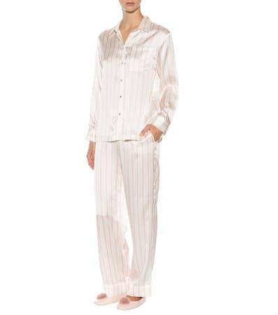 Pyjama hose Pyjama Gestreifte Seide Gestreifte Stripe Aus Asceno Blush Asceno hose Bqww76xXP5