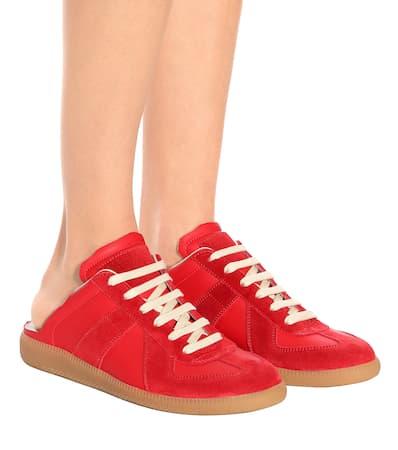 Red Margiela Und Maison Aus Replica Maison Leder Veloursleder Sneakers Margiela Owg7axqn