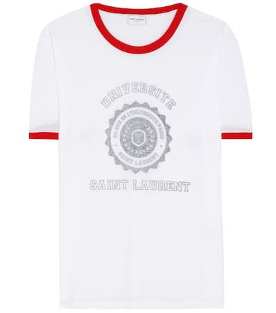 Saint noir Saint Bedrucktes Laurent shirt Laurent T Blanc rouge qUavpx5w