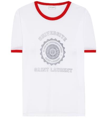 rouge Laurent Saint noir shirt Blanc T Saint Laurent Bedrucktes BwAxERqzn0
