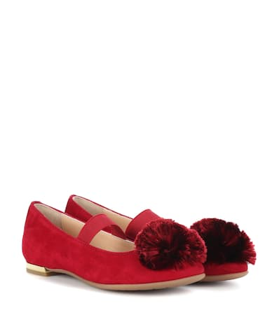 Aquazzura Ballerinas Powder Puff Aus Veloursleder Spice Red