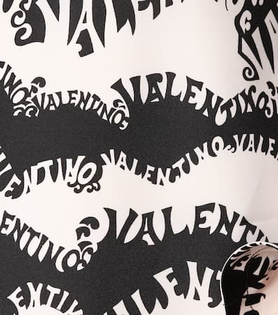 Valentino Maxikeid Bedrucktes Seide Bedrucktes Valentino nero Ivory Aus TxTwrZC7q