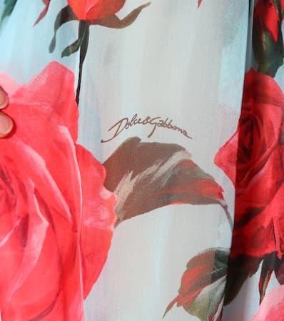 Aus Rose Dolce Bluse Fondo Azzurro amp; Seide Gabbana Bedruckte IIPqv