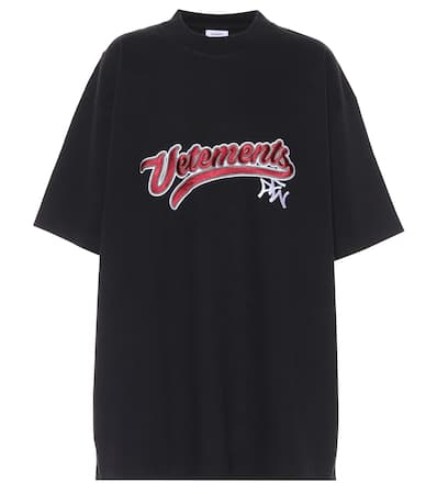 t Vetements Verziertes Noir Baumwoll shirt Noir Vetements shirt t Vetements Vetements t Noir shirt Baumwoll Verziertes Verziertes Baumwoll CqxR5w7t