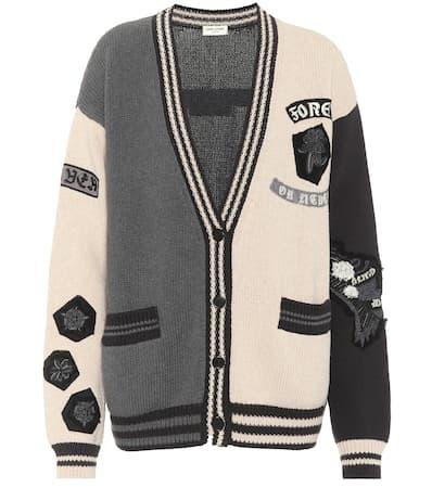 Saint Laurent Verzierter Cardigan Aus Baumwolle Noir/gris Rabatt-Spielraum Store 2N9XXAotr9